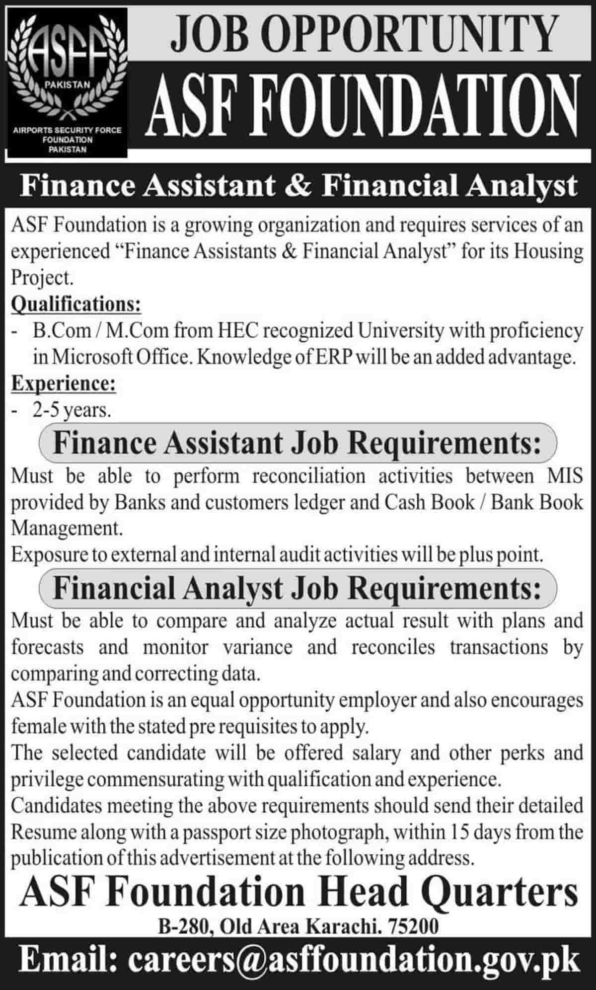 Airports Security Force ASF Foundation Jobs 2020 in Housing Project Latest