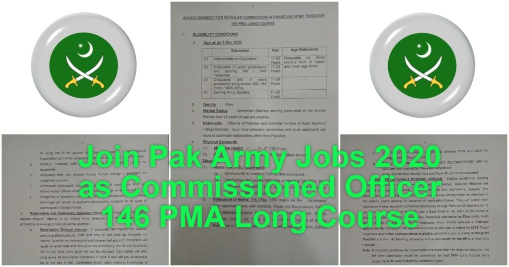 Featured Image Join Pak Army Jobs 2020 as Commissioned Officer 146 PMA Long Course