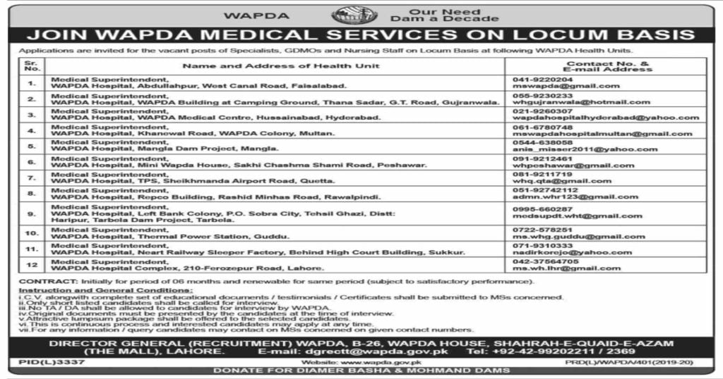 Featured Image Join WAPDA Medical Services Jobs 2020 for Specialists GDMOs and Nursing Staff