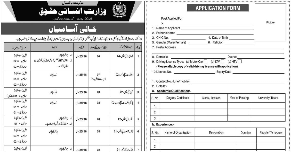 Featured Image Ministry of Human Rights Jobs April 2020 Application Form Latest