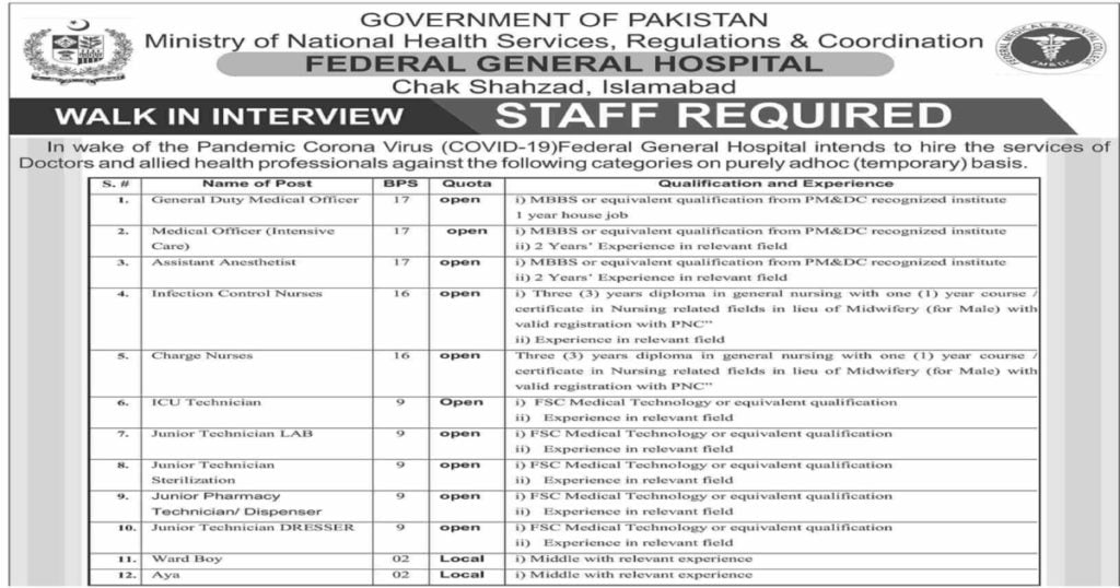 Featured Image Ministry of National Health Services Regulations and Coordination Jobs 2020 Walk in Interview