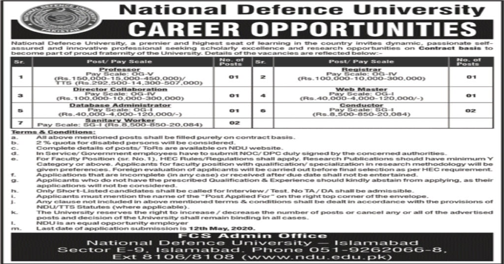 Featured Image National Defence University NDU Islamabad Jobs April 2020 Application Form Latest