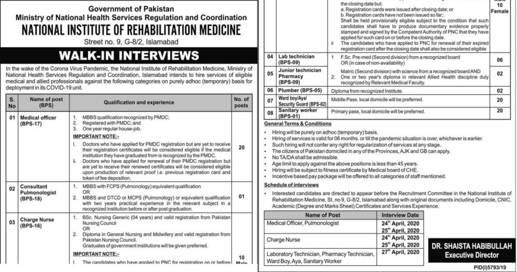 Featured Image National Institute of Rehabilitation Medicine NIRM Islamabad Jobs 2020 Walk in Interview