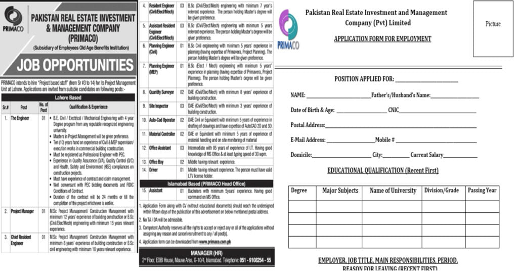 Featured Image Pakistan Real Estate Company PRIMACO Jobs 2020 Application Form