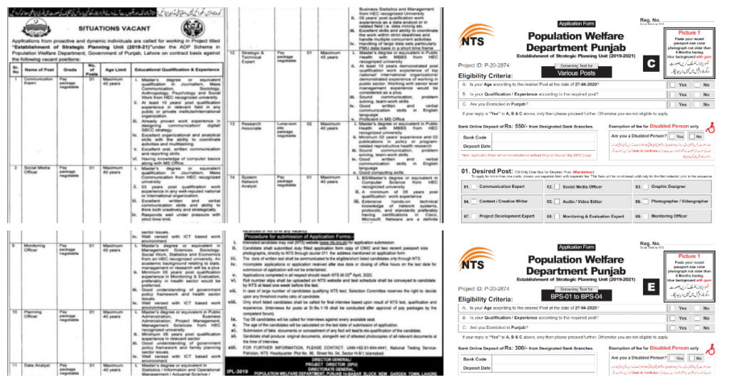 Featured Image Population Welfare Department Punjab Jobs April 2020 SPU NTS Latest