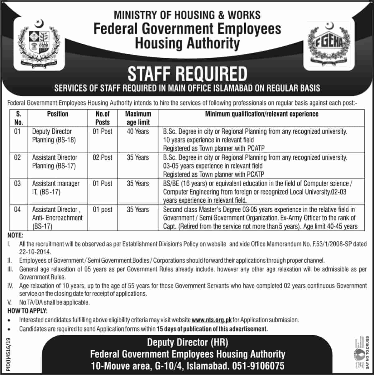 Federal Government Employees Housing Authority FGEHA Jobs April 2020 2