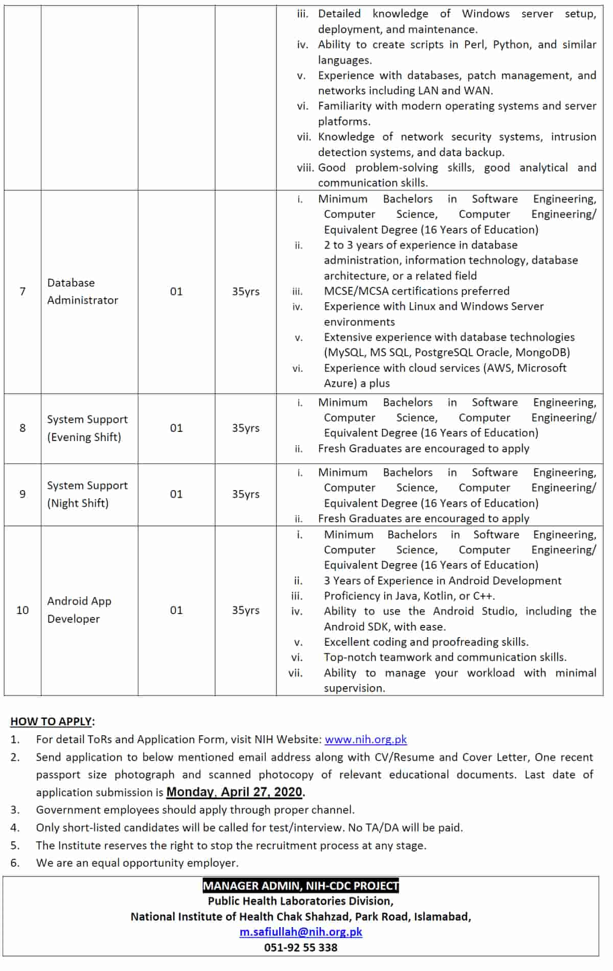 National Institute of Health NIH Islamabad Jobs April 2020 Application Form 2