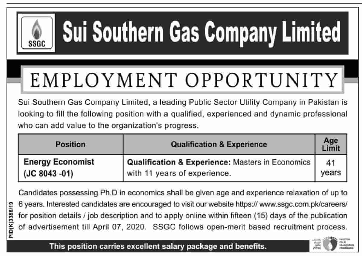 Sui Southern Gas Company Limited SSGC Jobs 2020 Apply Online Latest