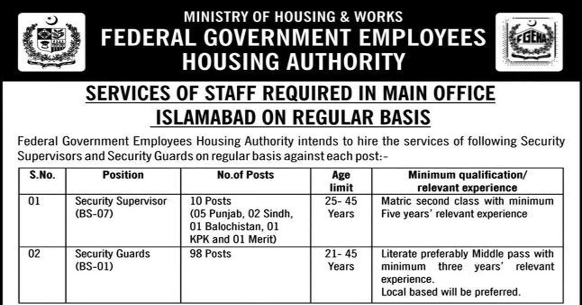 Featured Image Federal Government Employees Housing Authority FGEHA Jobs 2020 Apply Online