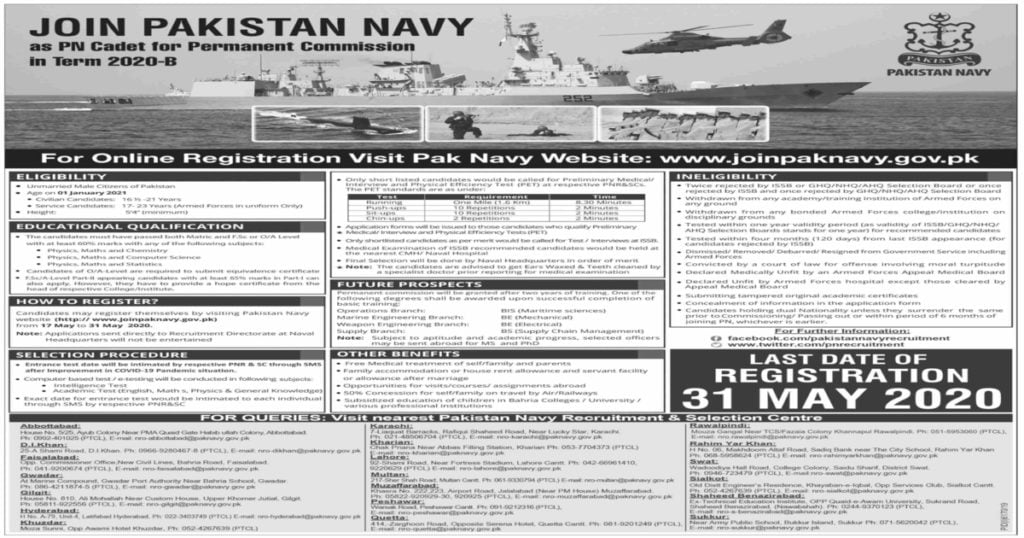 Featured Image Join Pak Navy Jobs 2020 as PN Cadet Permanent Commission Latest