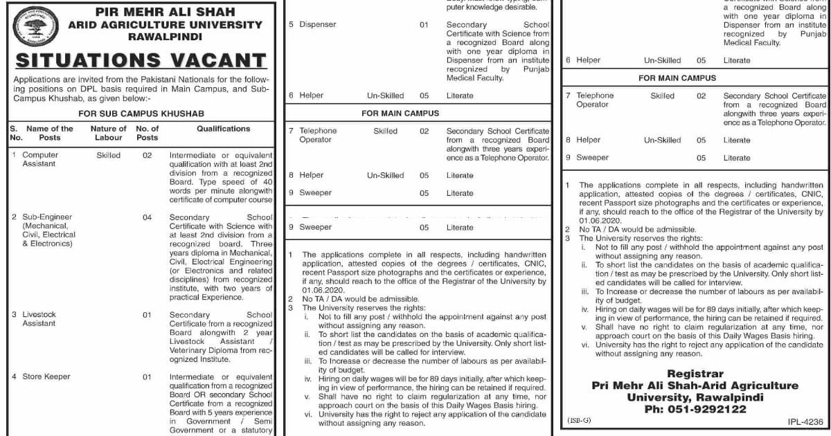 Featured Image PMAS Arid Agriculture University Jobs 2020 Latest