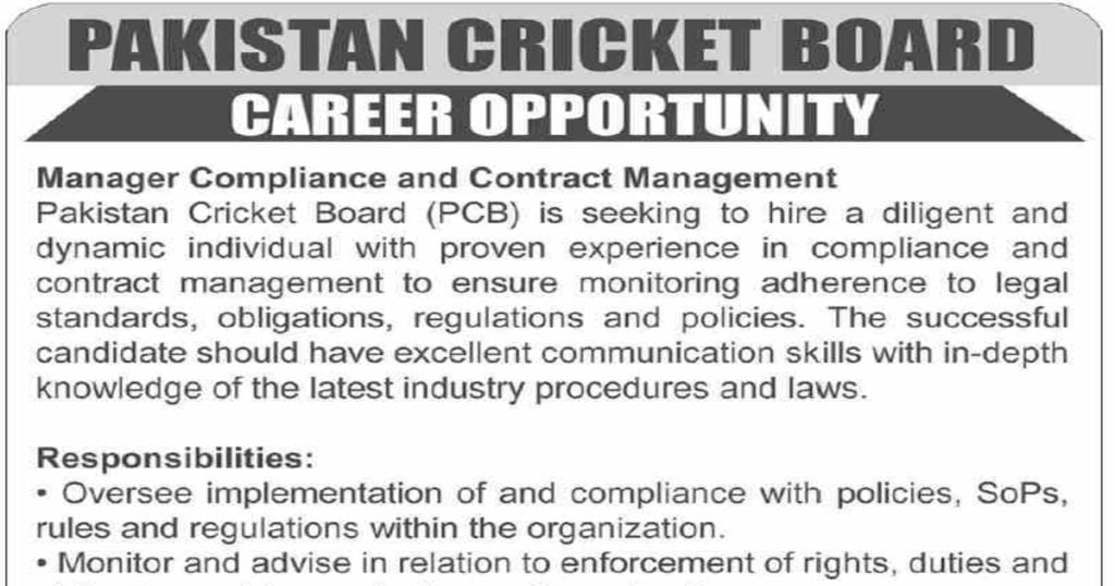 Featured Image Pakistan Cricket Board PCB Jobs 2020 for Manager Compliance and Contract Management