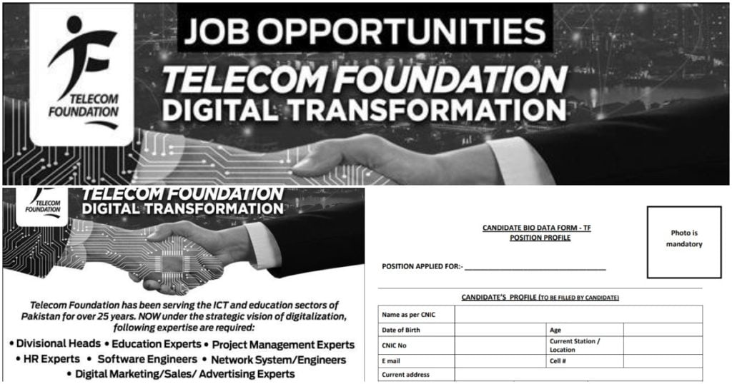 Featured Image Telecom Foundation Jobs 2020 www.telecomfoundation.com.pk TF Bio-Data Form