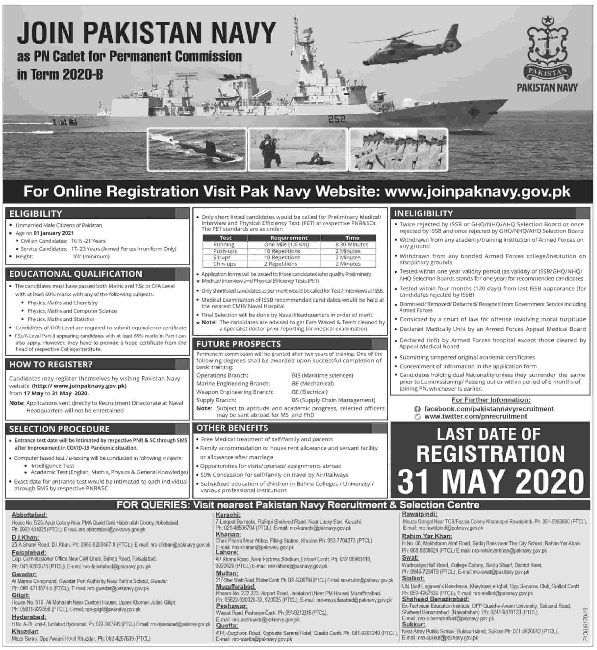 Join Pak Navy Jobs 2020 as PN Cadet Permanent Commission Latest