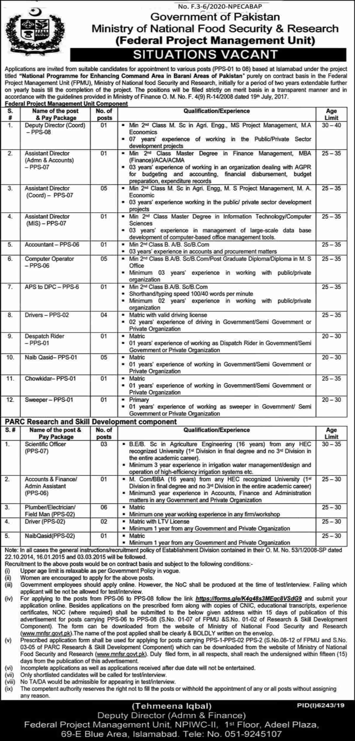 Ministry of National Food Security and Research Jobs 2020 www.mnfsr.gov.pk 1