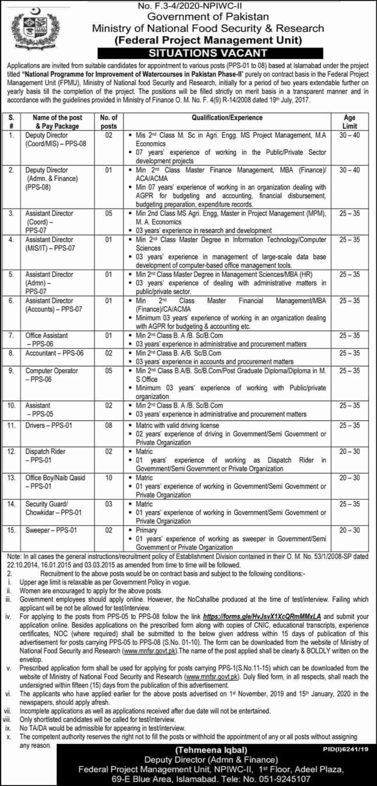 Ministry of National Food Security and Research Jobs 2020 www.mnfsr.gov.pk 2