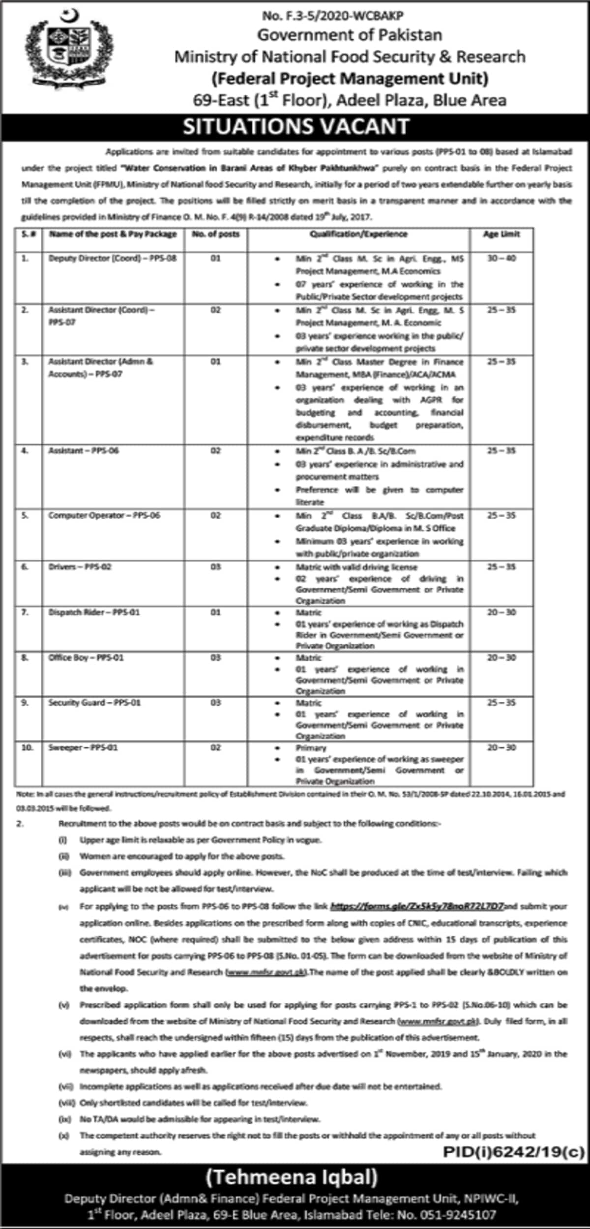 Ministry of National Food Security and Research Jobs 2020 www.mnfsr.gov.pk 3