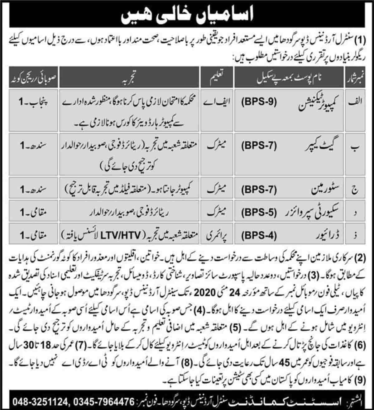 Pakistan Army Central Ordnance Depot COD Sargodha Jobs May 2020 Latest