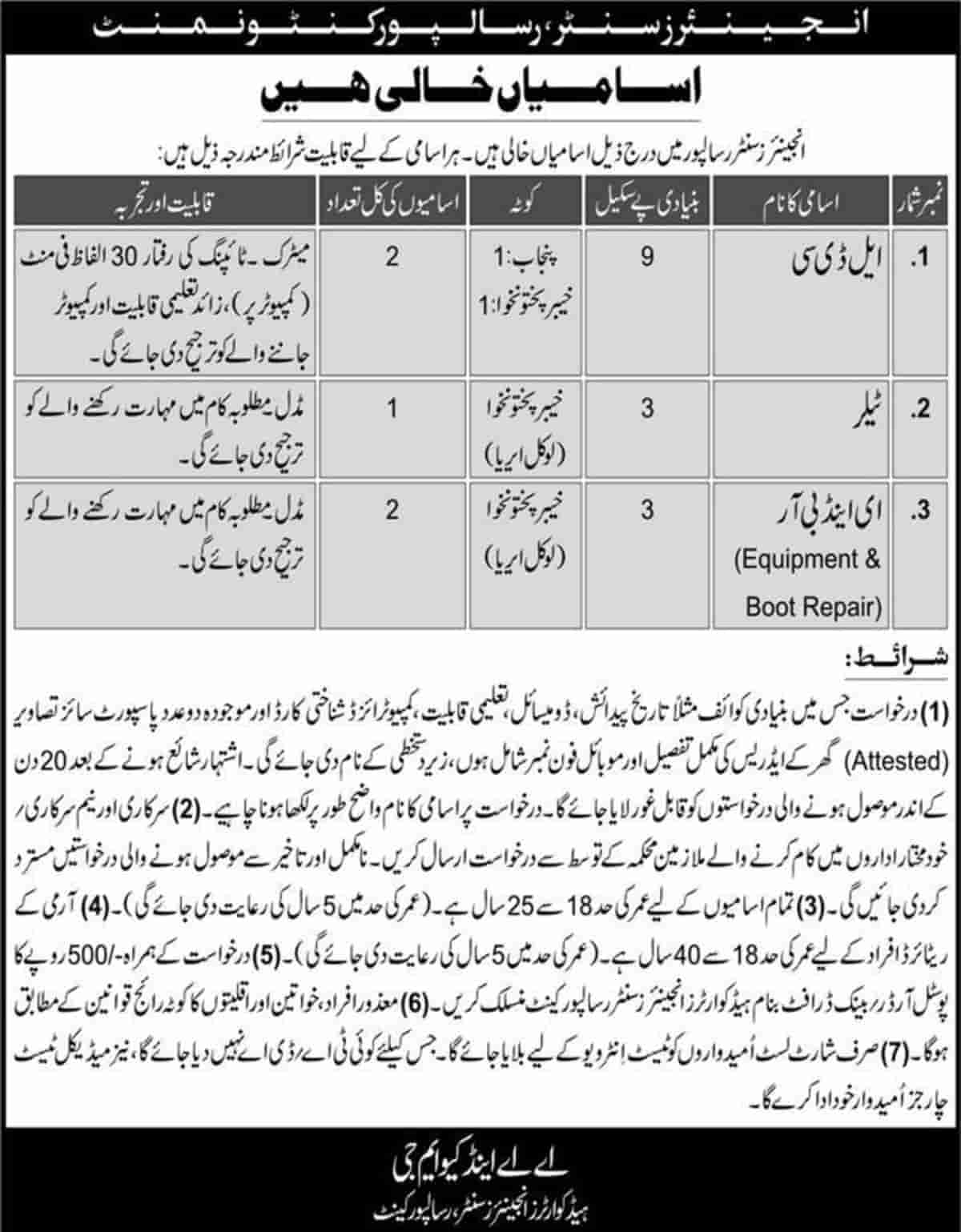 Pakistan Army Engineers Center Risalpur Cantt Jobs 2020 Application Form Latest