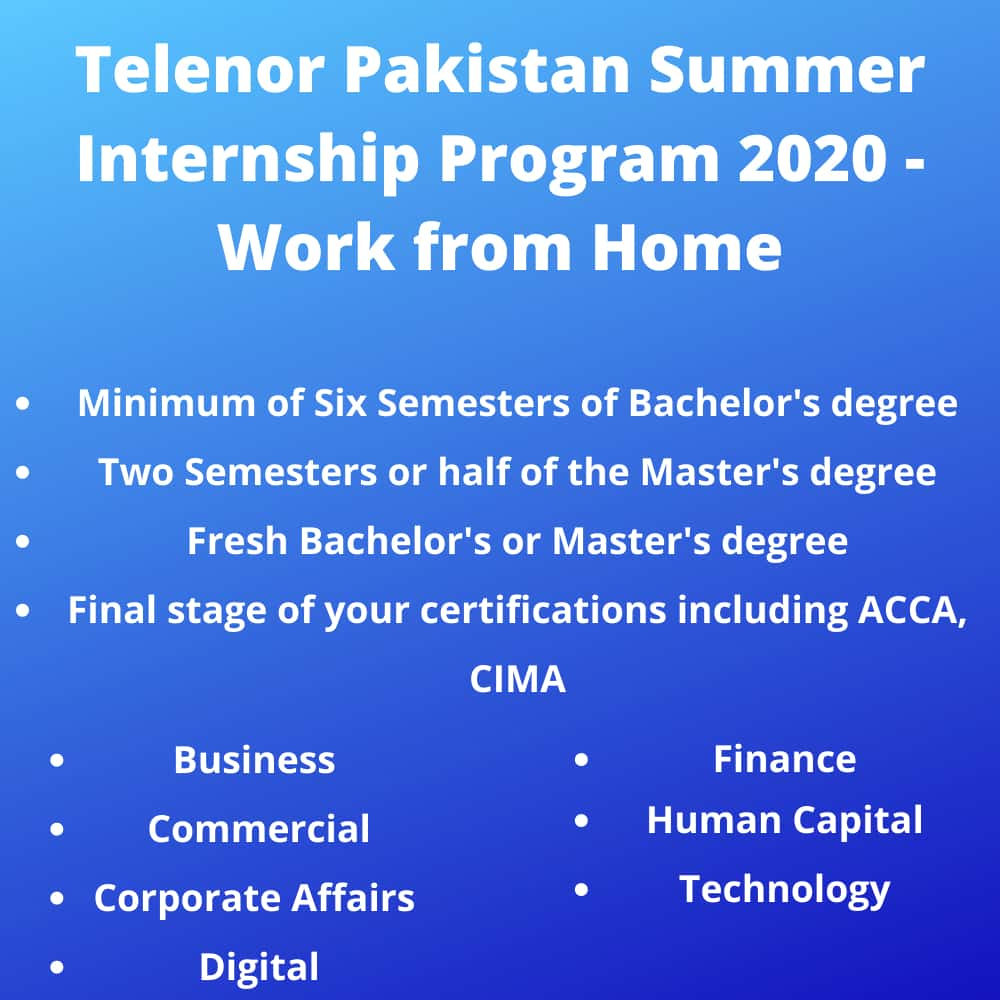 Telenor Pakistan Summer Paid Internship Virtual Program 2020 Apply Online