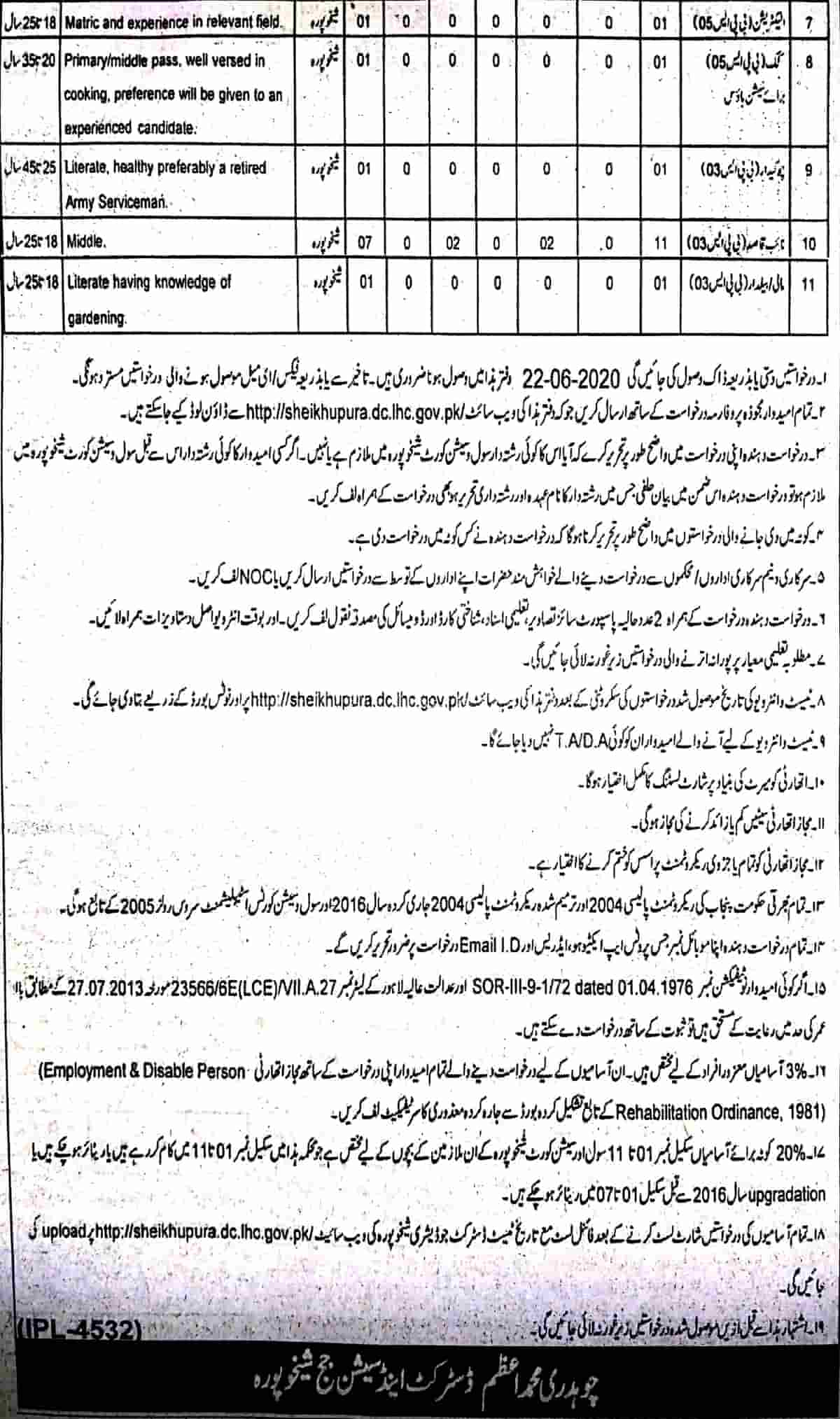 District and Session Judge Sheikhupura Jobs June 2020 Application Form 2