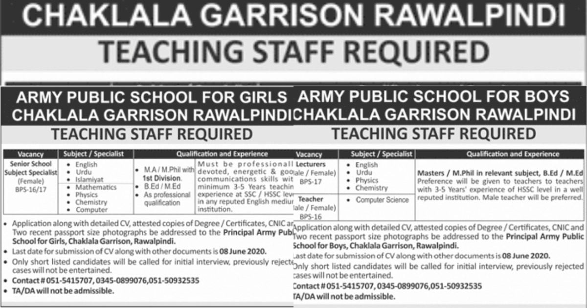 Featured Image Army Public School Chaklala Garrison Rawalpindi Teaching Jobs June 2020