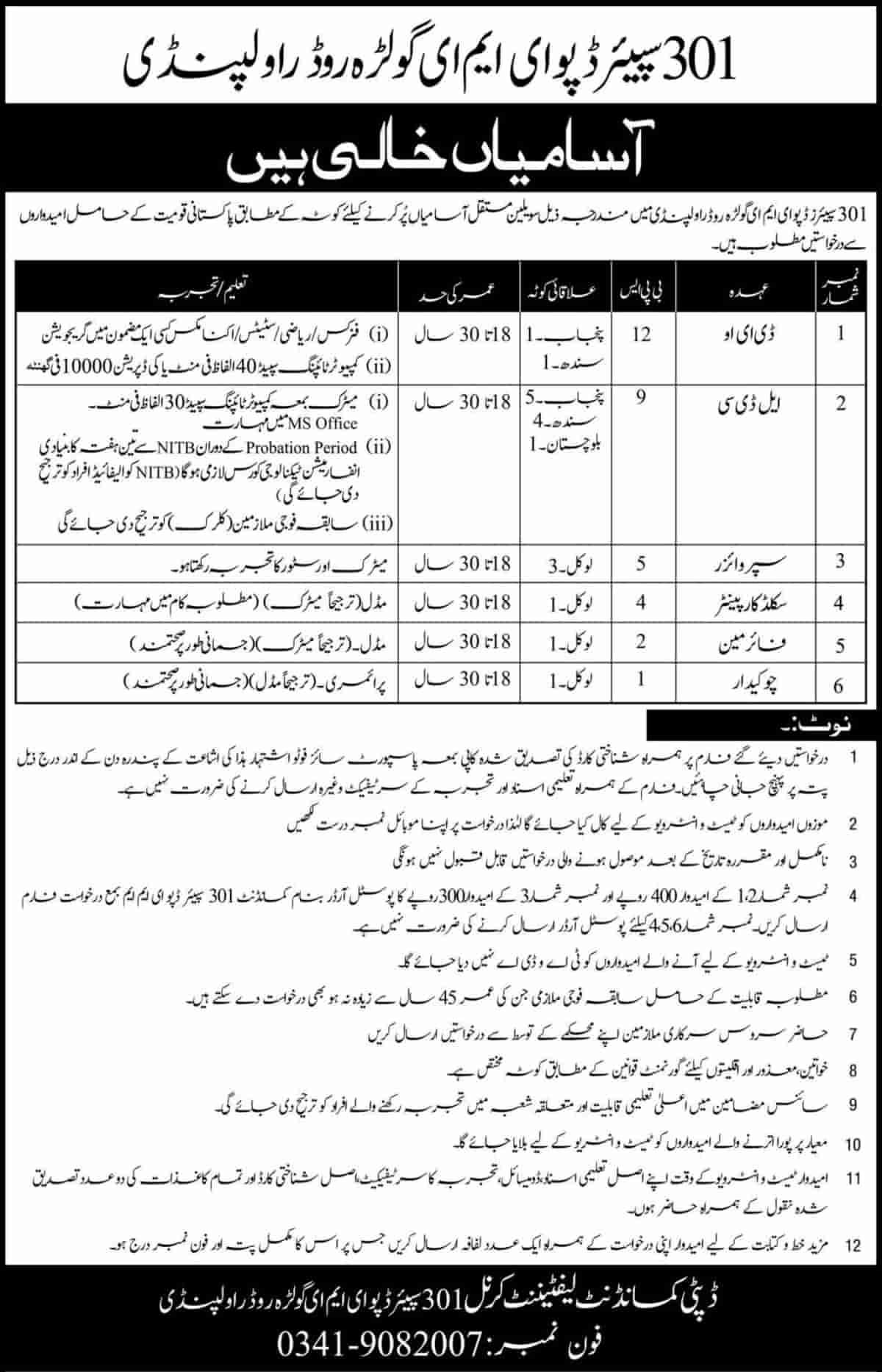 Pakistan Army 301 Spare Depot EME Golra Rawalpindi Jobs June 2020