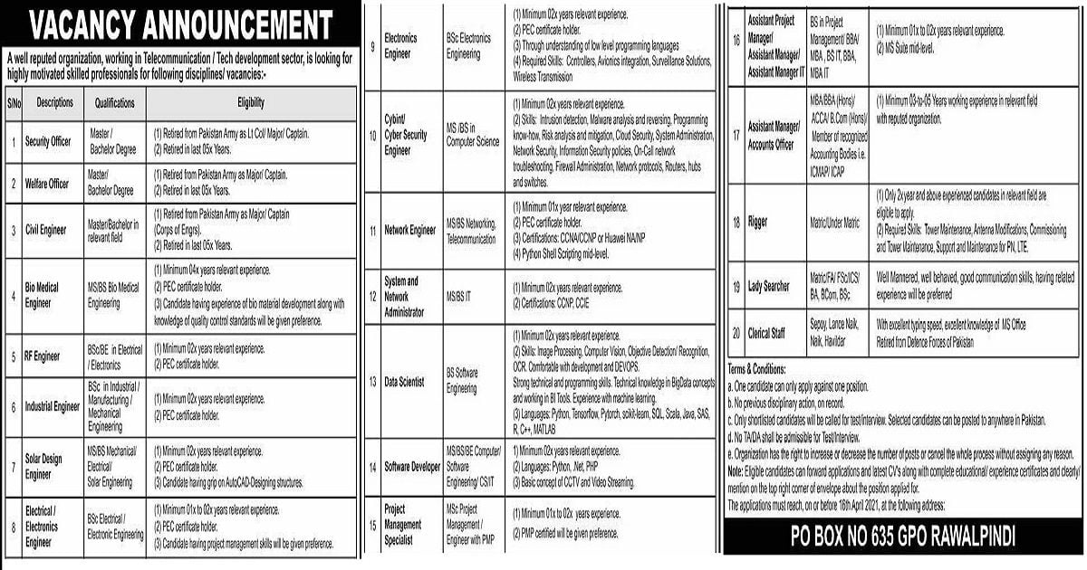 Featured Image PO Box 635 GPO Rawalpindi Public Sector Organization Jobs 2021
