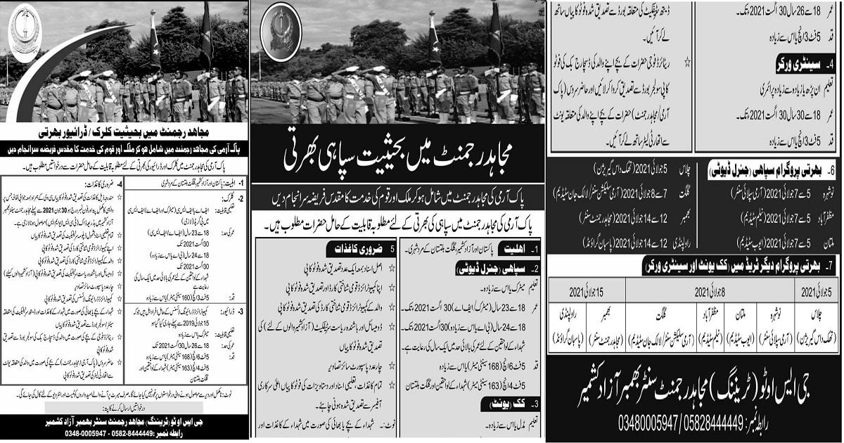 Featured Image Join Pak Army in Mujahid Force Regiment Jobs 2021 Registration Latest