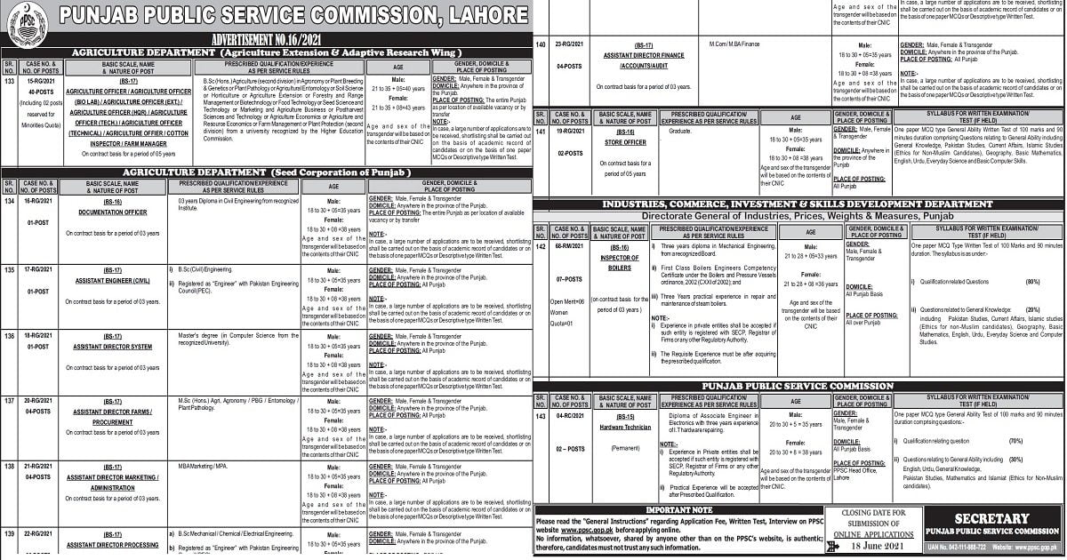 Featured Image PPSC Jobs Advertisement No 16 2021 Apply Online Latest