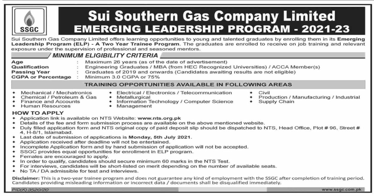 Featured Image Sui Southern Gas Company Limited SSGC Jobs 2021 Emerging Leadership Program NTS Apply Online