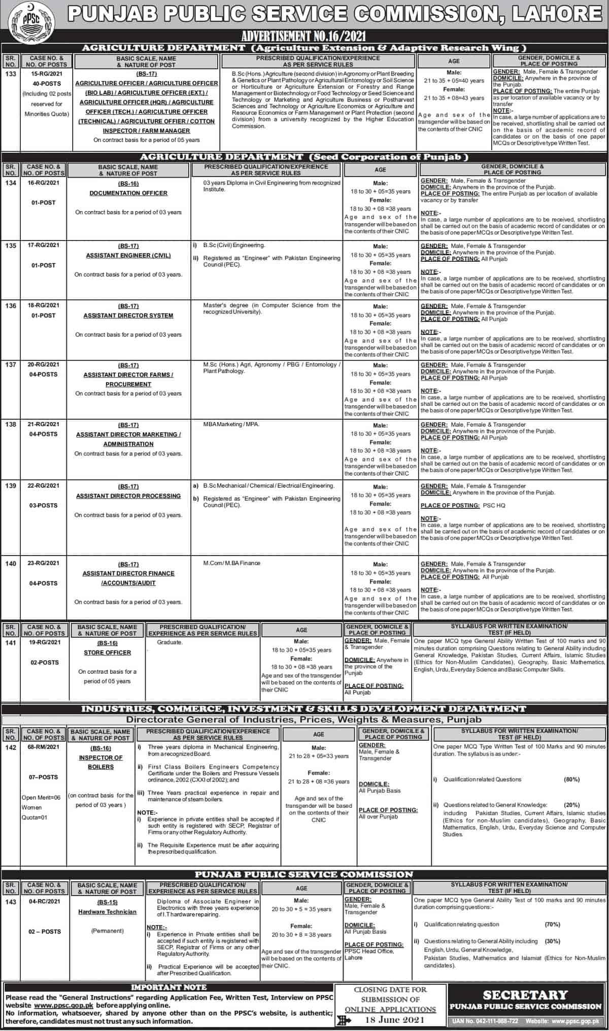 PPSC Jobs Advertisement No 16 2021 Apply Online Latest