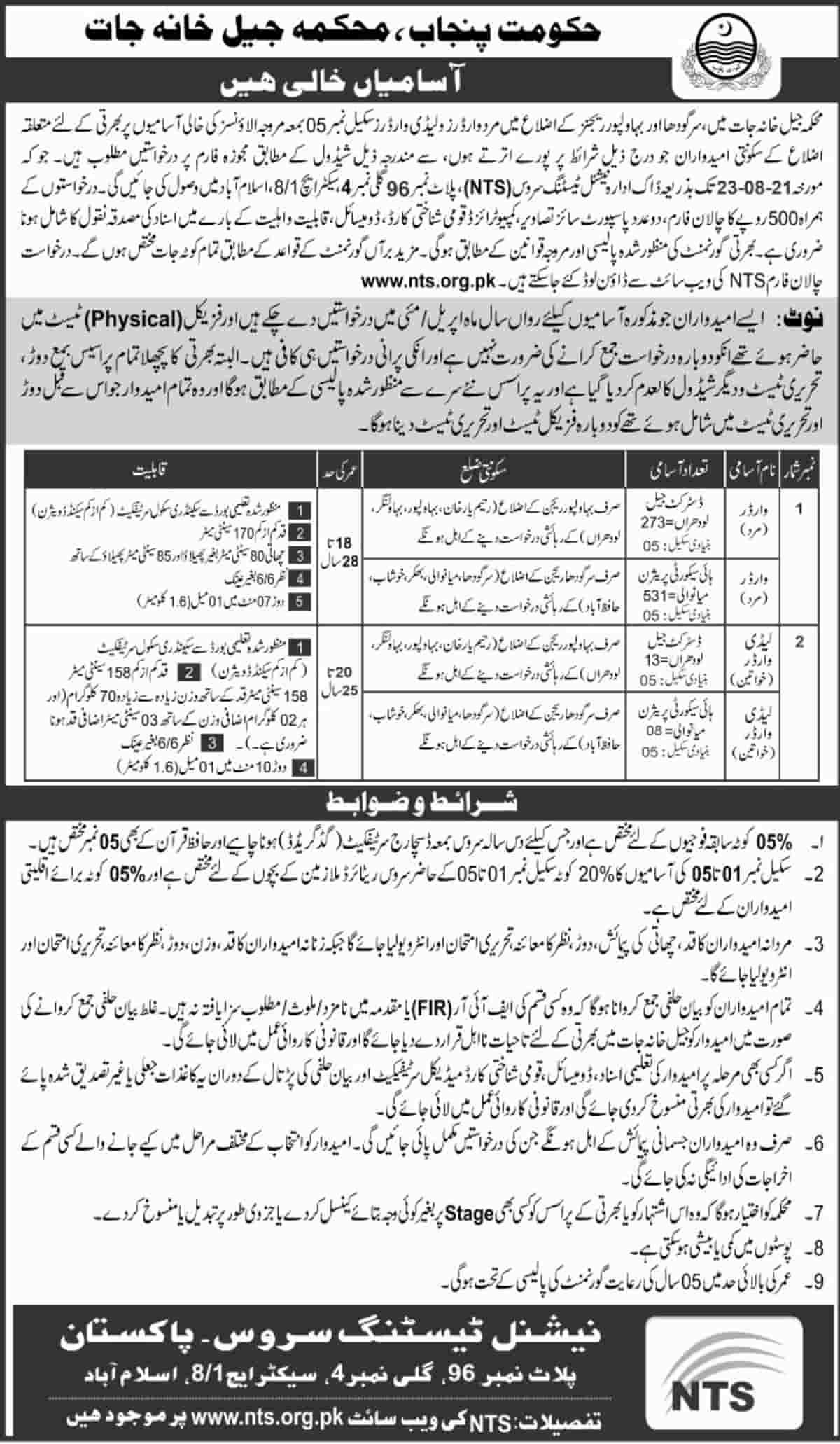 Punjab Prisons Department Jail Police Jobs August 2021 NTS Jail Warder